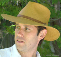 Wide Brim Panama Hat - The Aussie in Putty (tan)