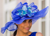 Winning Santa Anita Flowered Hat for the Derby in Blue.