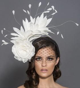 Lulu, Black and White Headband Fascinator with Veil by Arturo Rios
