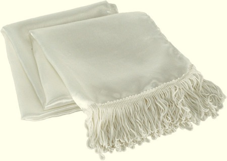 costume white aviator scarf with fringe ends