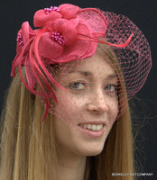 British Wedding Fascinator Hat pink