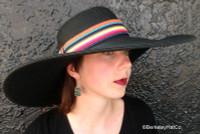 Women's Wide Brim Black Sun Hat, Multi-Color Band