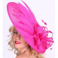 Art Deco Derby Fascinator Hat in Fuchsia