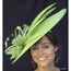Art Deco Derby Fascinator hat in lime, front view