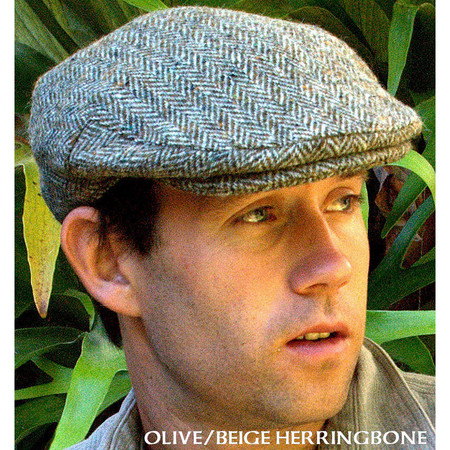Harris Tweed Olive/Beige Herringbone Ivy Cap
