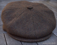 Irish Newsboy Cap, Brown Wool Barleycorn Tweed