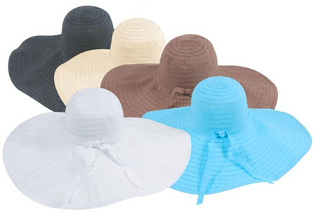 Wide Brim Ribbon Hat