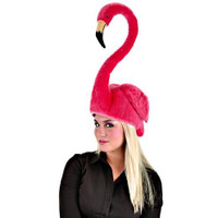 pink flamingo hat with pose-able neck
