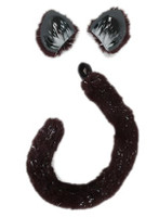black cat ear and tail set