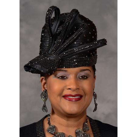 f1f2cfe80 Black Rhinestone Cloche Church Hat, Eve Andrea