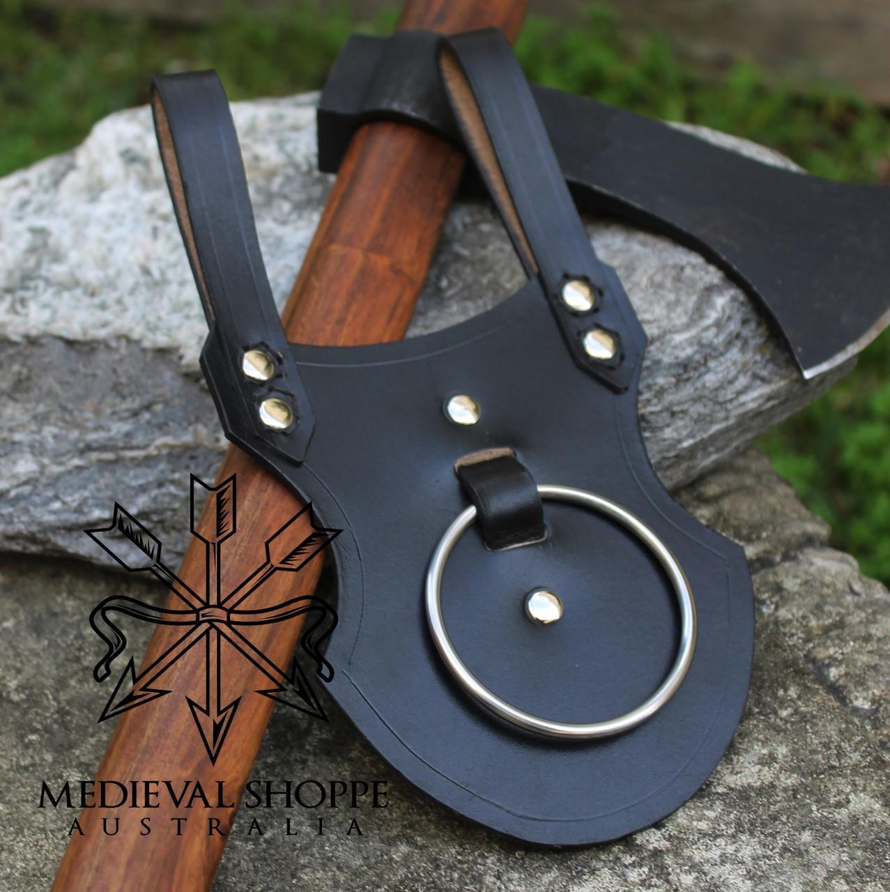 An axe ring, loop, hook, belt hanger, holster