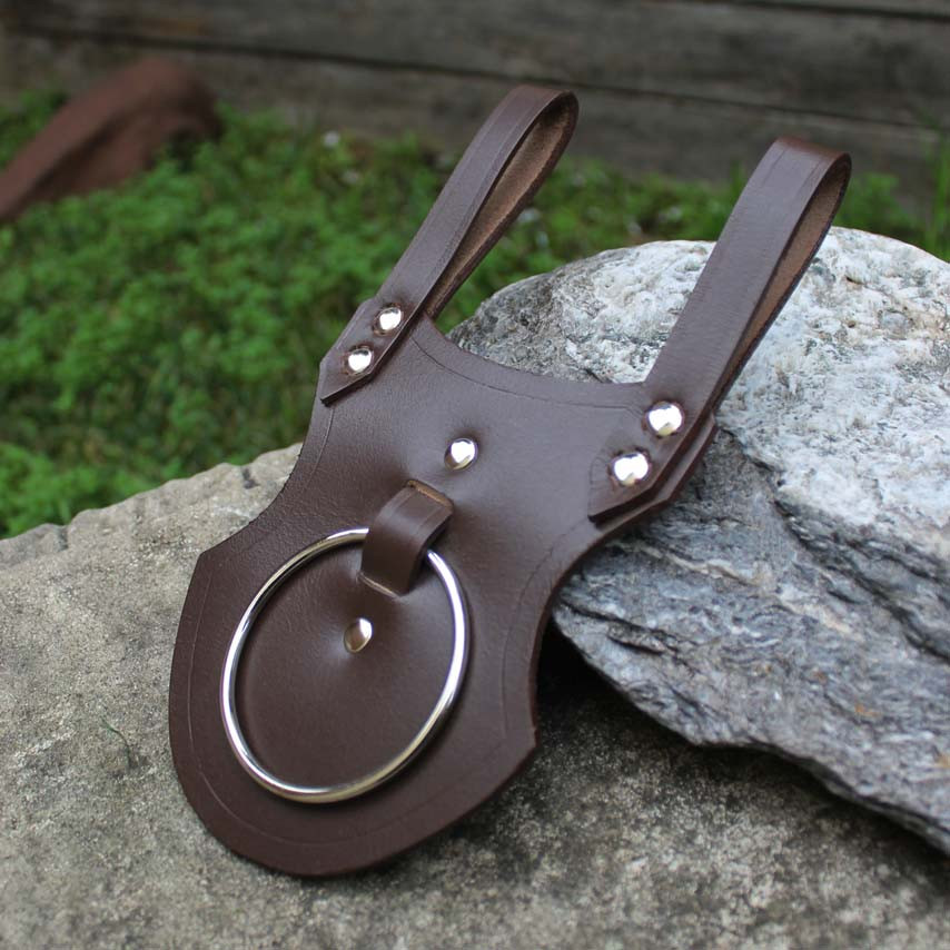 Axe Ring Holster (Brown) Drinking Horn Belt Hanger