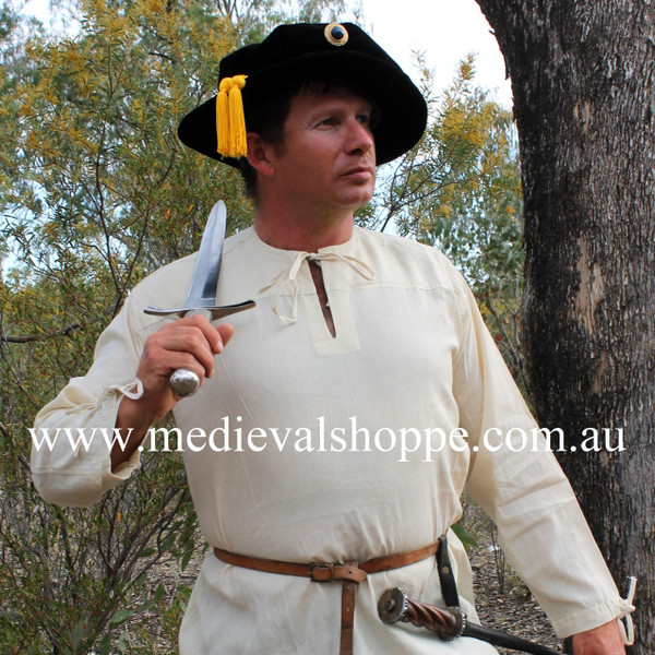 Linen Shirt. Every outfit has to start somewhere, so why not start yours with a shirt? The Medieval Shoppe carries a wide variety of medieval and Renaissance shirts for both men and women that are a fantastic place to start assembling the medieval or Renaissance look of your dreams. This well constructed shirt is incredibly versatile, our pictures place it in the 16th century, but in reality it would visually suit a medieval swordsman, a peasant, a lord, a Viking, a pirate; it would even compliment almost any kilt nicely, while still adding a touch of authenticity.
