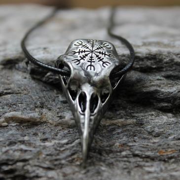 Odin Raven Skull Pendant