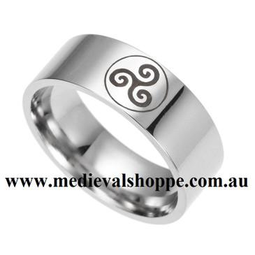 Stainless Steel Celtic Triskelion Ring