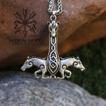 Celtic Knotwork Epona Galloping Horses Pendant