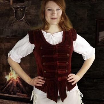 Burgundy Velvet Bodice - Women's Waistcoat
