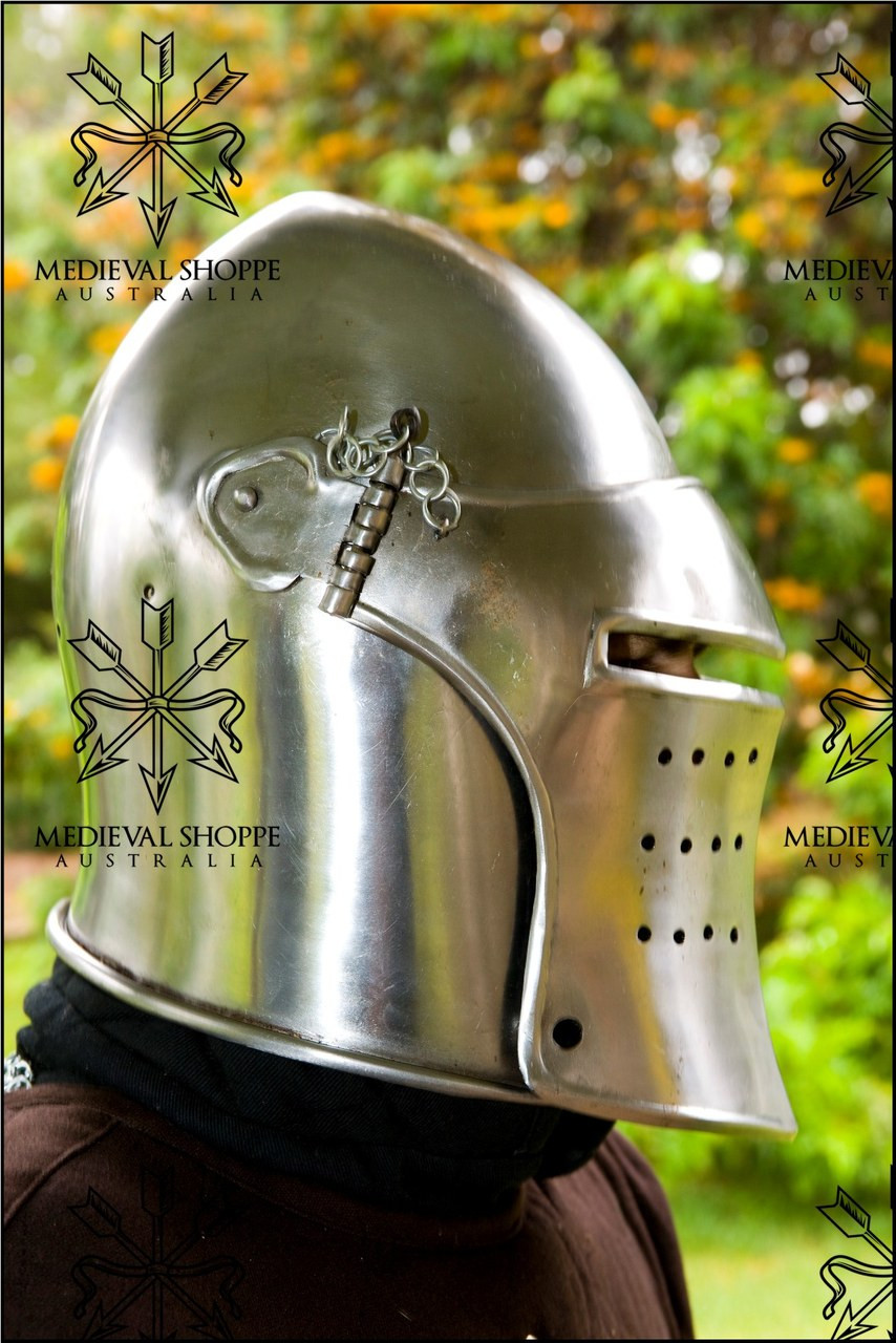 Early 15th Century Battle Helm with leather liner