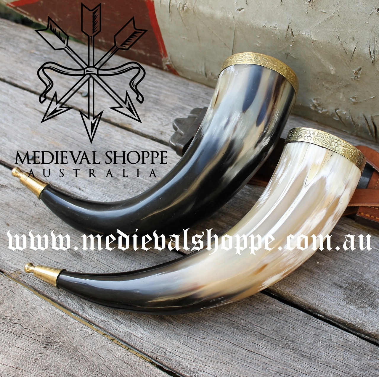 Ornate Drinking Horn with Bronze Fittings