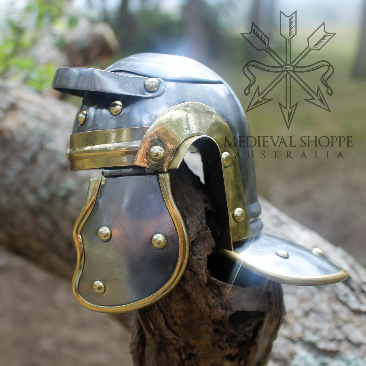 Miniature Roman Helmet & Wooden Stand