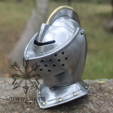 Miniature Medieval Knight's Helm & Wooden Stand
