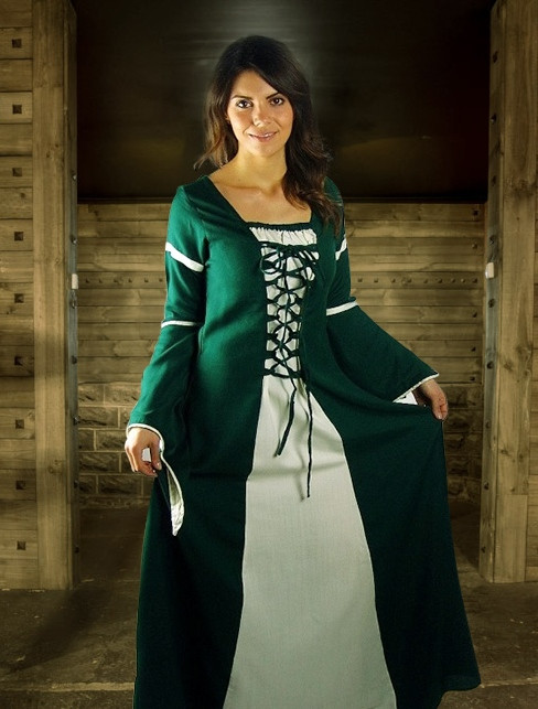 Green & White Medieval Dress