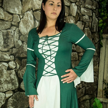 Green & White Medieval Dress