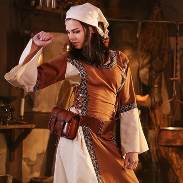 Early Medieval Dress (Light Brown & Off White)