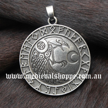 Large Raven & Runes Pendant