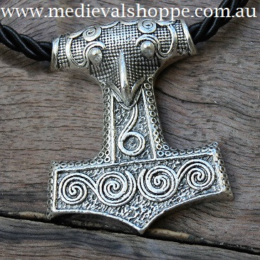 Finely Detailed Thor Hammer With Spirals Inlay (Mjöllnir) Viking Amulet