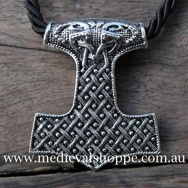 Finely Detailed Thor Hammer With Spirals Inlay (Mjöllnir) Viking Amulet