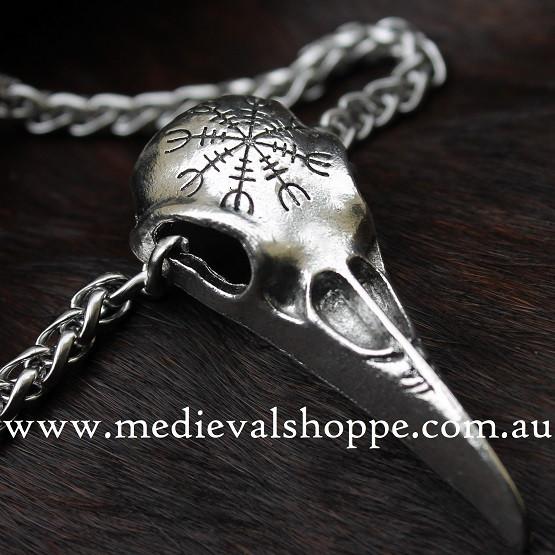 Viking Huginn Skull Vegvísir Pendent