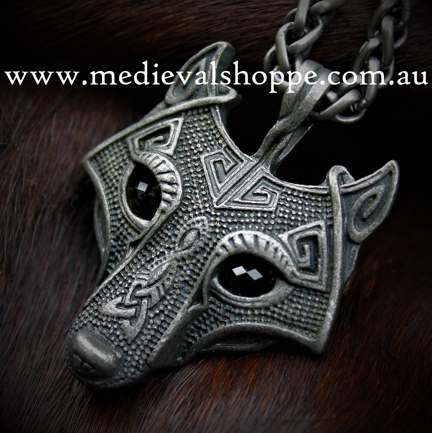 Gun Metal Pictish Wolf Pendant
