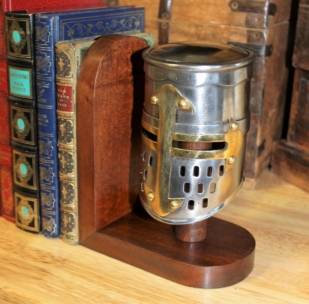 Wooden Bookend Miniature Helmet Stand