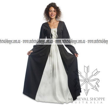 1402 Medieval Dress (Charcoal Grey and White)