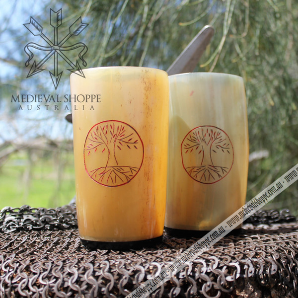 Tree Of Life Cow Horn Cup (16 cm)