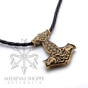 Goat Head Mjölnir with Vegvisir and Celtic Knotwork