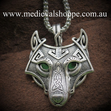 Emerald-Eyed Pictish Wolf Pendant