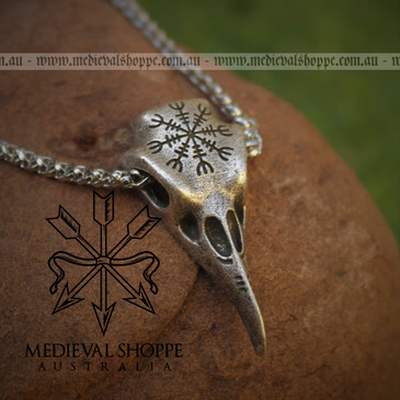Viking Raven Skull Pendant