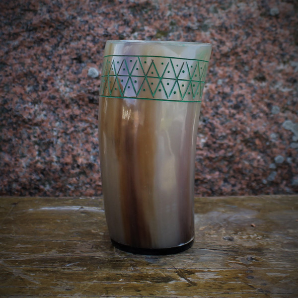Cow Horn Cup With Finnish Etching