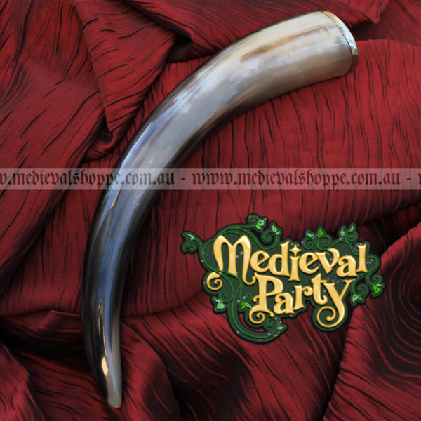 Large Drinking Horn with Steel Rim