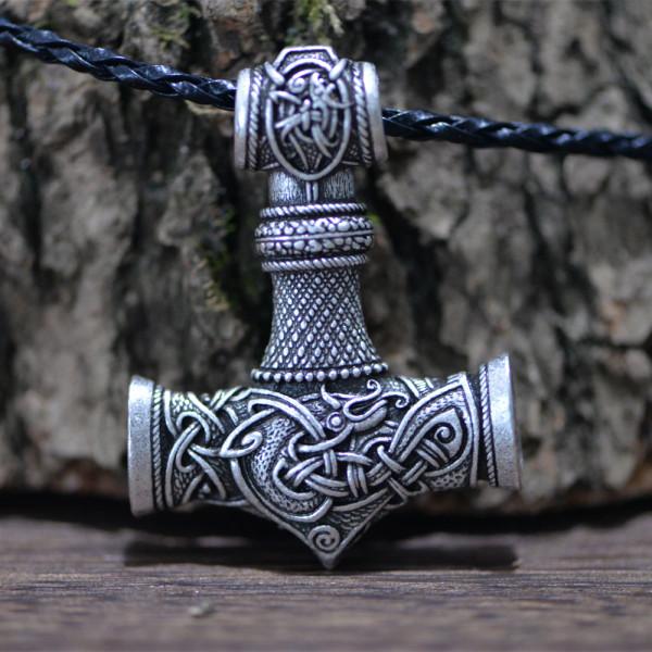Finely Detailed Thor Hammer With Dragon Inlay (Mjöllnir) Viking Amulet