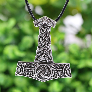 Finely Detailed Thor Hammer With Triquetra Inlay (Mjöllnir) Viking Amulet