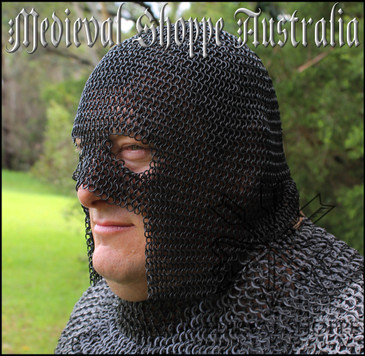 "Chainmail ""Executioner's Mask ""(black, small rings)"