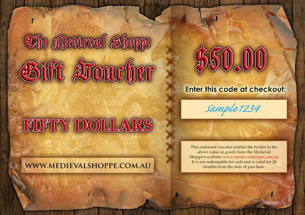 Medieval Shoppe $50.00 Gift Voucher