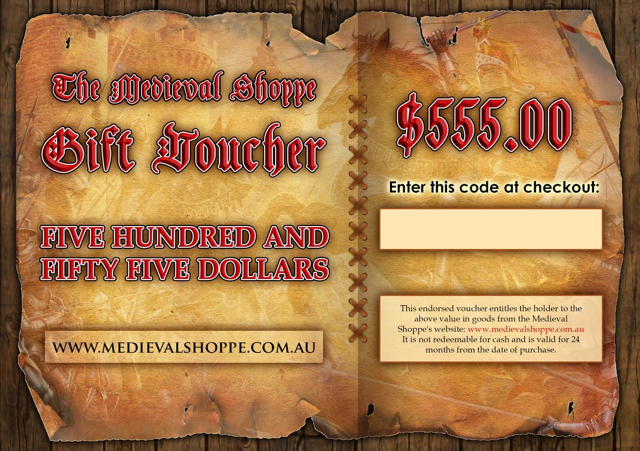 Medieval Shoppe $555 Gift Voucher