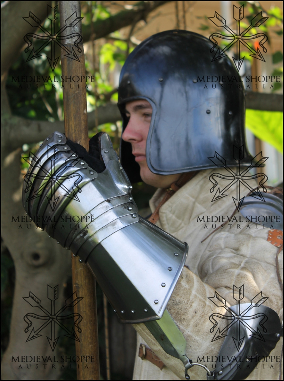 Black Celeta Helmet (14 Gauge) 15th Century Barbute