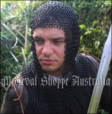 Black Chain Mail Coif (Hood)