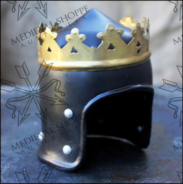 Miniature 15th Century Royal Helm with Wooden Stand