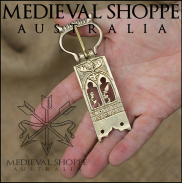Ornate Brass Medieval Belt Buckle (11 x 4.3cm)